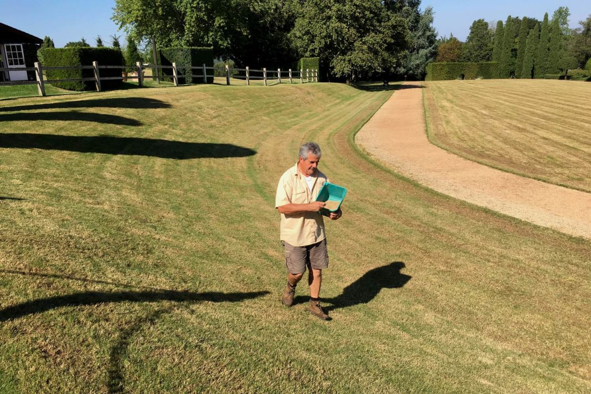 Travaux d'automne à Eyrignac : scarification et engazonnement